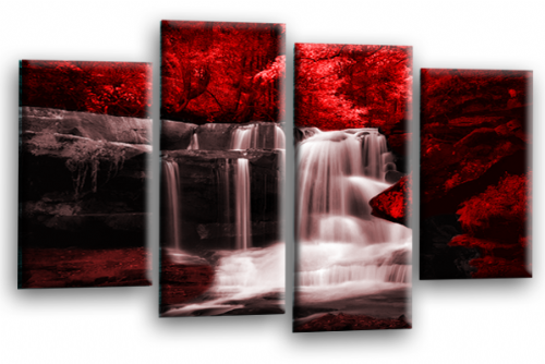 Forest Waterfall Canvas Wall Art Picture Print Red Black Grey